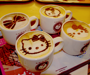 hello kitty, coffee, and drink image