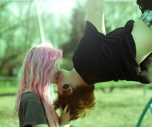 couple, fun, and pink hair image