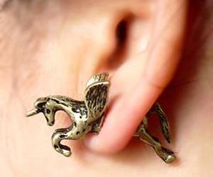 unicorn, earrings, and horse image
