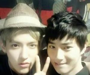 kris, suho, and exo image