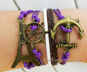 bracelets, charm bracelet, and leather bracelet image