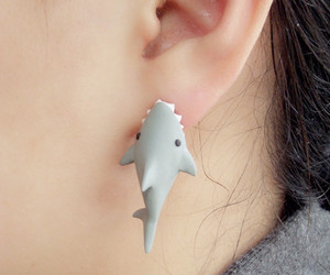 shark, earrings, and cool image