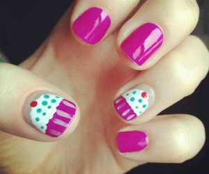 pink, white, and nailart image