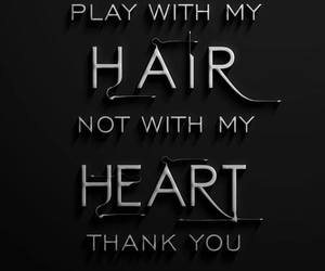 heart, hair, and quote image