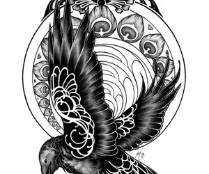 art, tattoo, and bird image