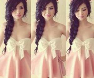 dress, hair, and pink image