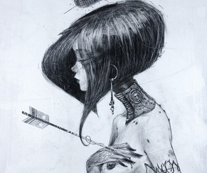 black and white, draw, and Tattoos image