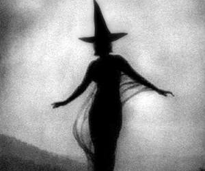 black and white, shadow, and witch image
