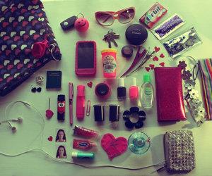 pink, bag, and phone image