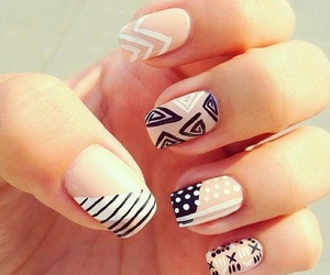black, manicure, and white image