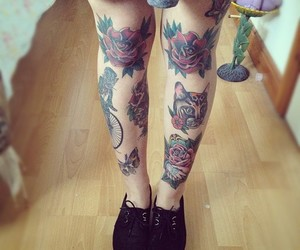 tattoo, legs, and rose image