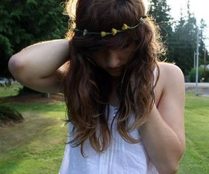 flower crown, flowers, and messy hair image