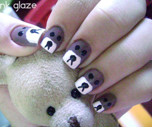 bear, nail art, and pink glaze image