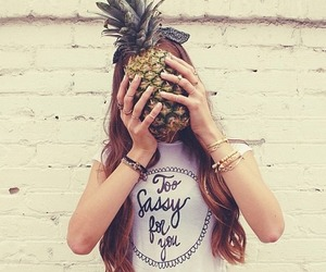 girl, hipster, and pineapple image