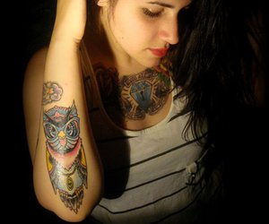 brunette, owl, and owl tattoo image