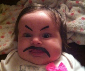 baby, funny, and mustache image