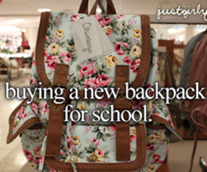 backpack, school, and just girly things image