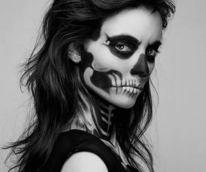 girl, skull, and zombie image