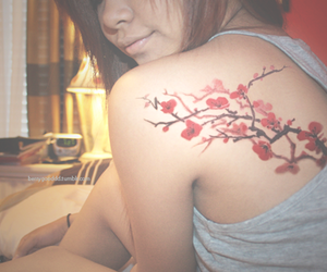 cherry blossom, girl, and tattoo image