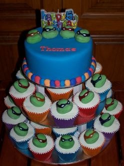 Wondrous Teenage Mutant Ninja Turtle Birthday Cake And Cupcakes Funny Birthday Cards Online Fluifree Goldxyz