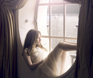 girl, window, and lace image