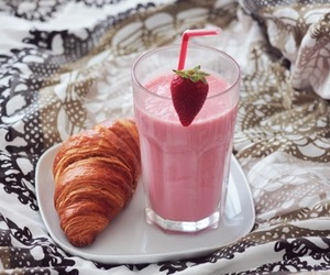 food, smoothie, and strawberries image