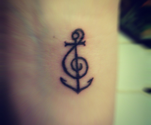 tattoo, anchor, and music image