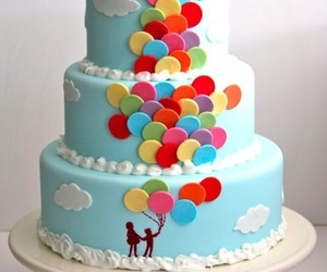 cake, balloons, and blue image