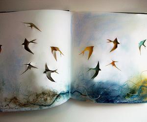 bird, art, and book image