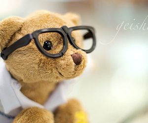 glasses, cute, and teddy bear image