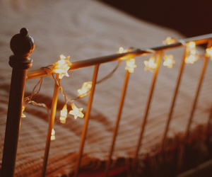 light, bed, and stars image