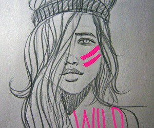 wild, pink, and drawing image