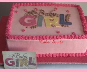 pink cake, baby shower cake, and baby girl cake image