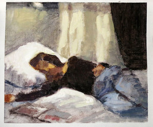 art, resting, and bed image