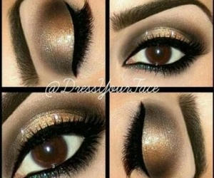makeup, brown, and eyes image