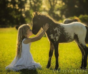 horse, girl, and love image