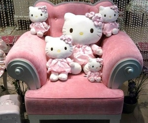 hello kitty, pink, and armchair image