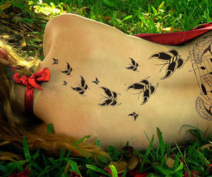 butterflies, grass, and tatoo image