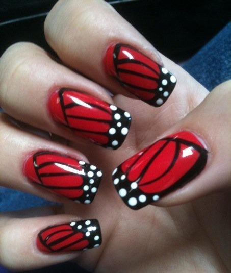 Red butterfly wing nails nail art animalsinsects prinsesfo Choice Image