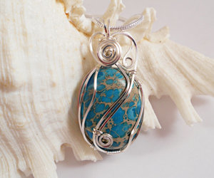 blue, wire wrapped, and pendant image