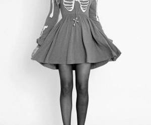dress, black and white, and skeleton image