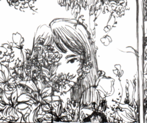 comic, flowers, and drawing image