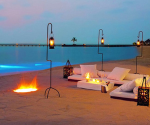 beach, romantic, and fire image