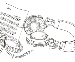 head phone, Jacqueline Pytyck, and line drawing image