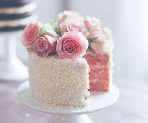 cake, rose, and pastel image