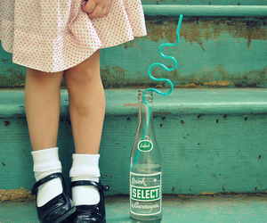 bottle, child, and drink image
