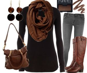 outfit, brown, and boots image