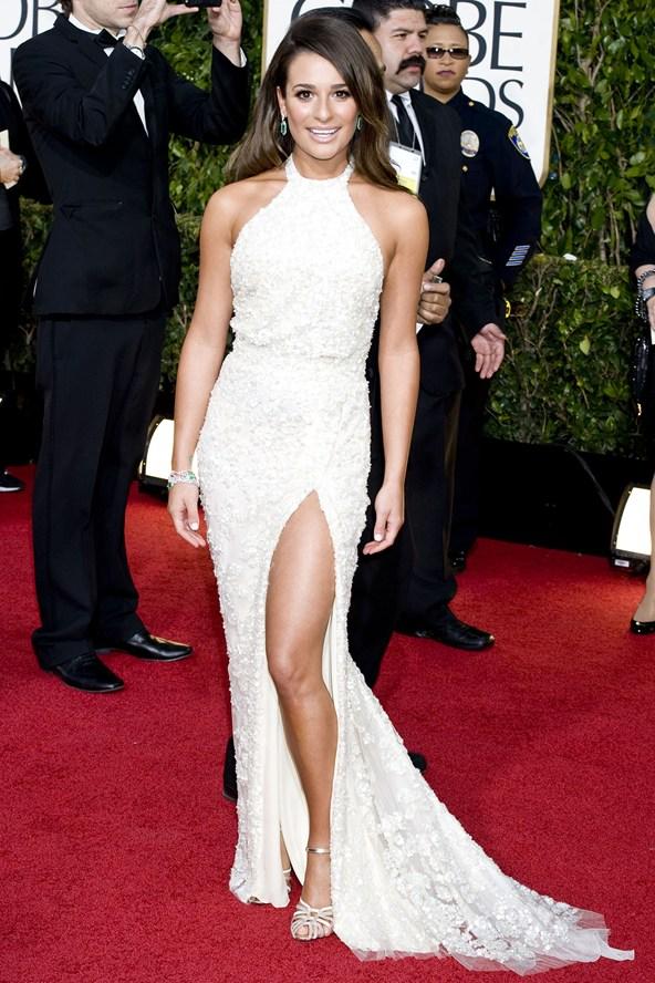 Lea michele white dress