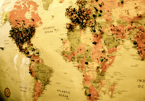 World map with pins uploaded by eirene on we heart it gumiabroncs
