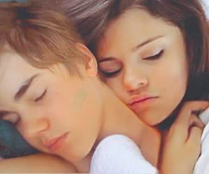 selena gomez, sleeping, and justin bieber image